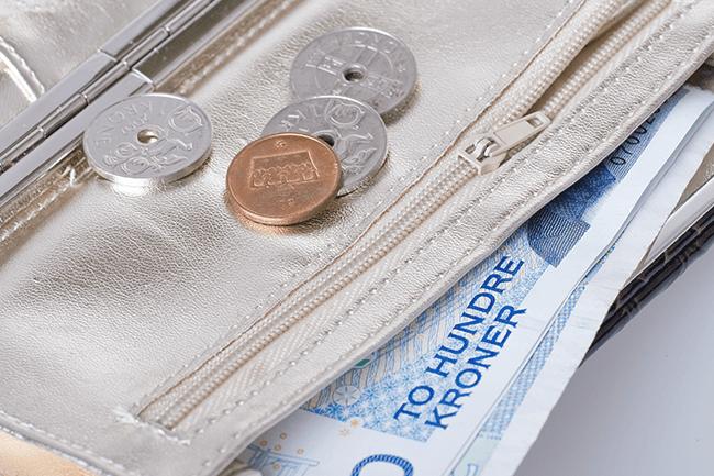 Lommebok med penger. Foto.