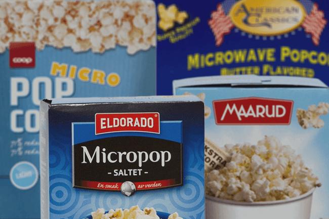 Noen av popcorn typene som er blitt testet. Foto.