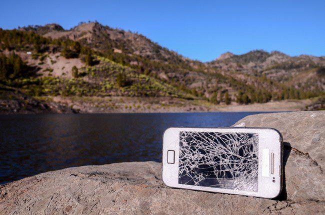 Ødelagt.mobil.Foto