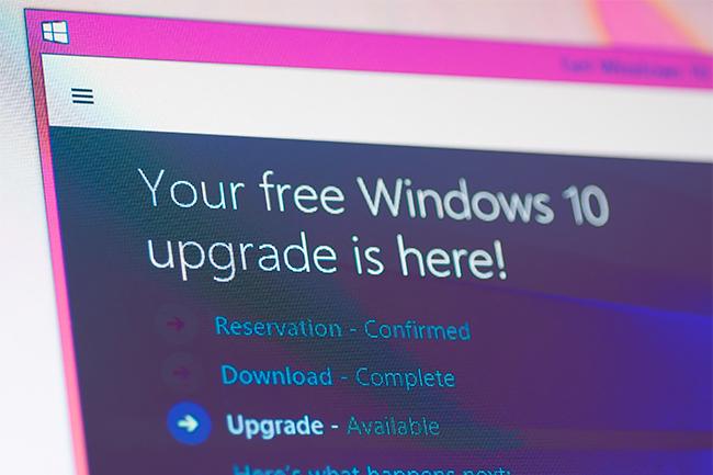 Skjermdump av windows 10 oppdatering. Foto.
