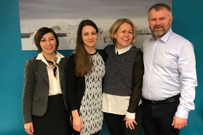 Natalia Ushakova, Frode Vestrheim, Christina Engelschjøn og Edith Nøkling gleder seg til å arbeide på Svalbard i forbrukernes tjeneste.