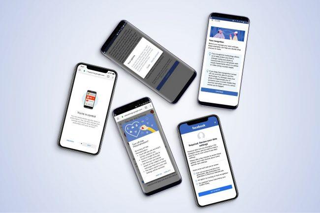 Fem mobiltelefoner med GDPR-varsler.foto