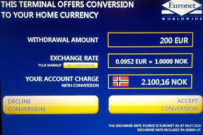 minibank som viser lokal valuta.Foto