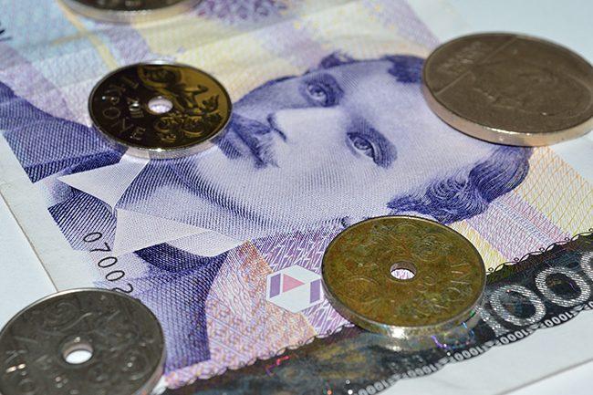 Norske penger.Foto