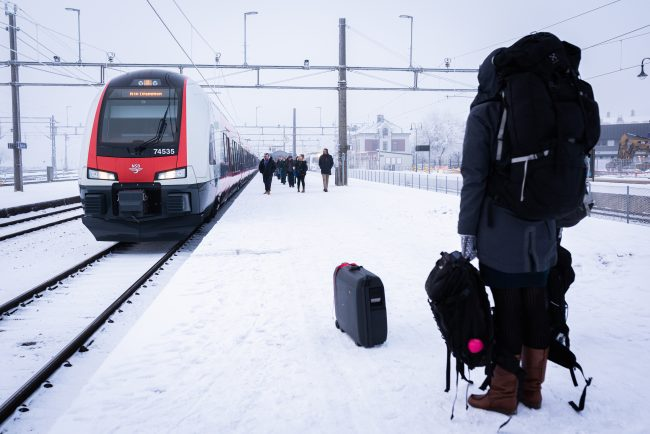 Reisebilde. Togreise vinterferie.
